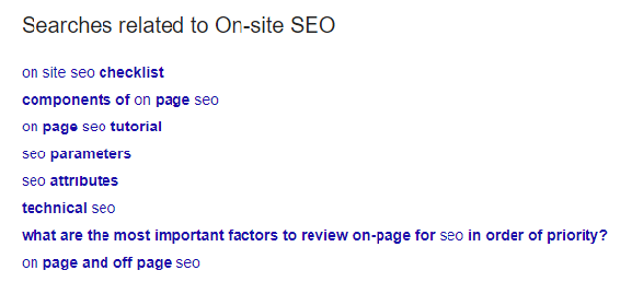 A screenshot of the 'searches related to' section of the google SERP