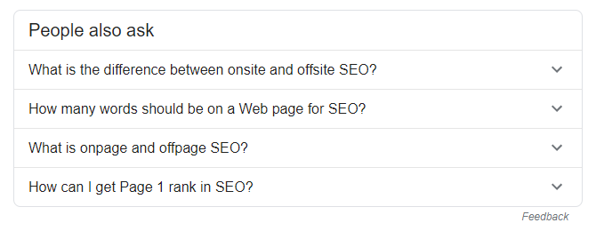 A screenshot of the 'people always ask' section of the google SERP for the keyword 'On-site SEO'
