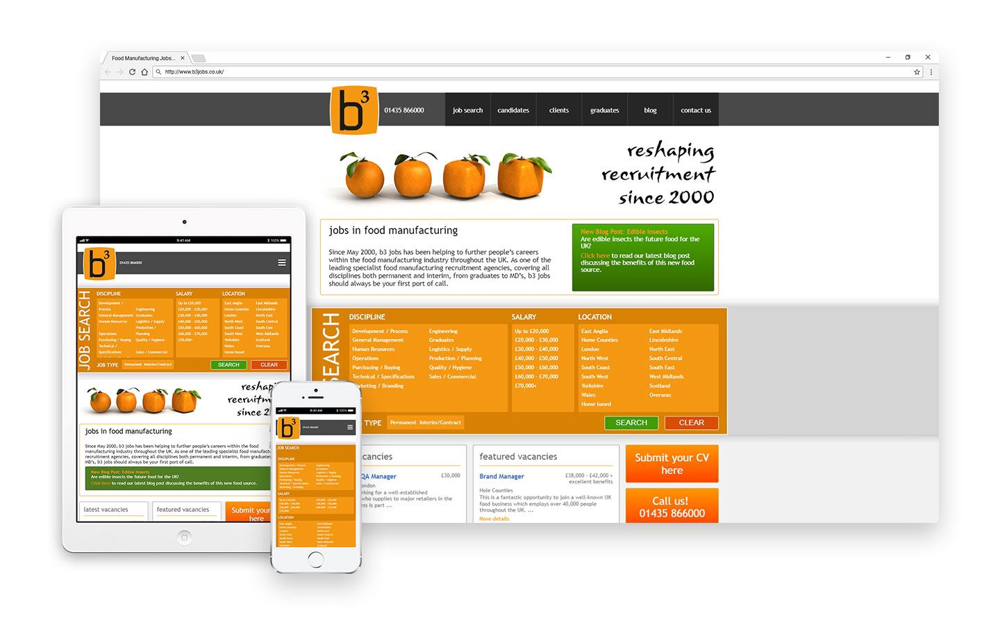 The fully responsive website design project for B3 Jobs by Barkweb